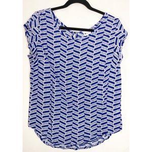 Stylus blue white blouse L herringbone